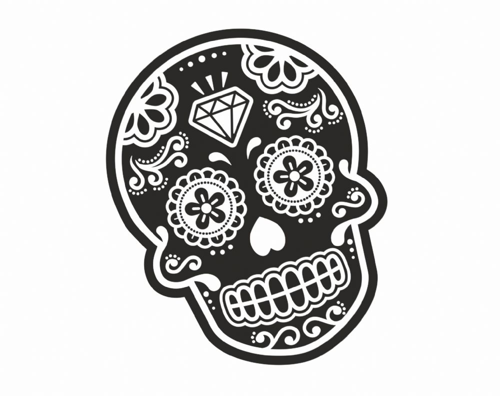 Mexican Day Of The Dead SUGAR SKULL Black & White With